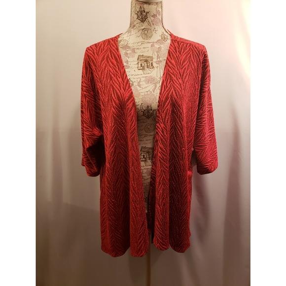 LuLaRoe Jackets & Blazers - LulaRoe red and black Lindsay Kimono